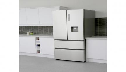 Haier B3FE742CMJW, frigorífico combi de puerta francesa e inox.